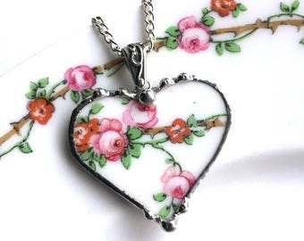 Beautiful roses on vine - broken china jewelry, heart pendant necklace, antique pink roses, porcelain jewelry, china heart