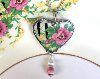 Broken china jewelry, heart pendant necklace, antique pink wild roses china with genuine pearl and rhodonite beads, Dishfunctional Designs