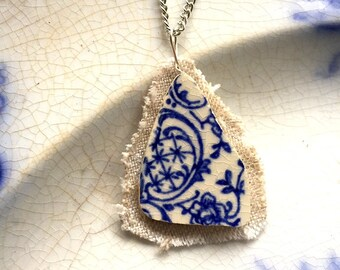 Broken china jewelry pendant necklace with chain - antique china shard on linen pendant - blue English transferware Dishfunctional Designs