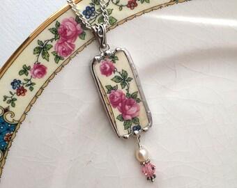 Broken china jewelry - pendant necklace - antique Victorian - pink roses on vine - Swarovski crystals