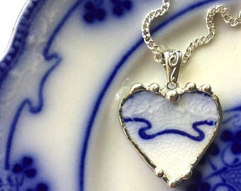 Broken China Jewelry Heart Pendant necklace antique, Art Nouveau, Victorian flow blue china, sterling, recycled china, sustainable art