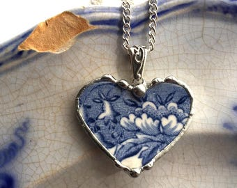 Dishfunctional Designs Broken china jewelry antique blue and white English transferware heart pendant necklace Dishfunctional Designs