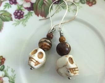 Zebra Jasper, Tiger Eye Skull Earrings, lightweight, silver wires, stylish, Dishfunctional Designs