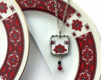 Broken china jewelry, pendant necklace, Eastern European folk art, Ukraine, Poland, Slovakia, Carpathian, Dishfunctional Designs