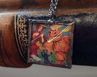 Vintage Halloween postcard pendant necklace dancing black cat witch and gourd pumpkin man