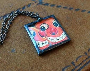 Vintage Halloween postcard pendant necklace two grinning Jack 'O Lanterns anthropomorphic cute