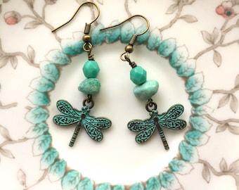 Verdigras Dragonfly Earrings, antique finish, chrysocolla beads, blue green  feminine earrings stylish pretty, Dishfunctional Designs