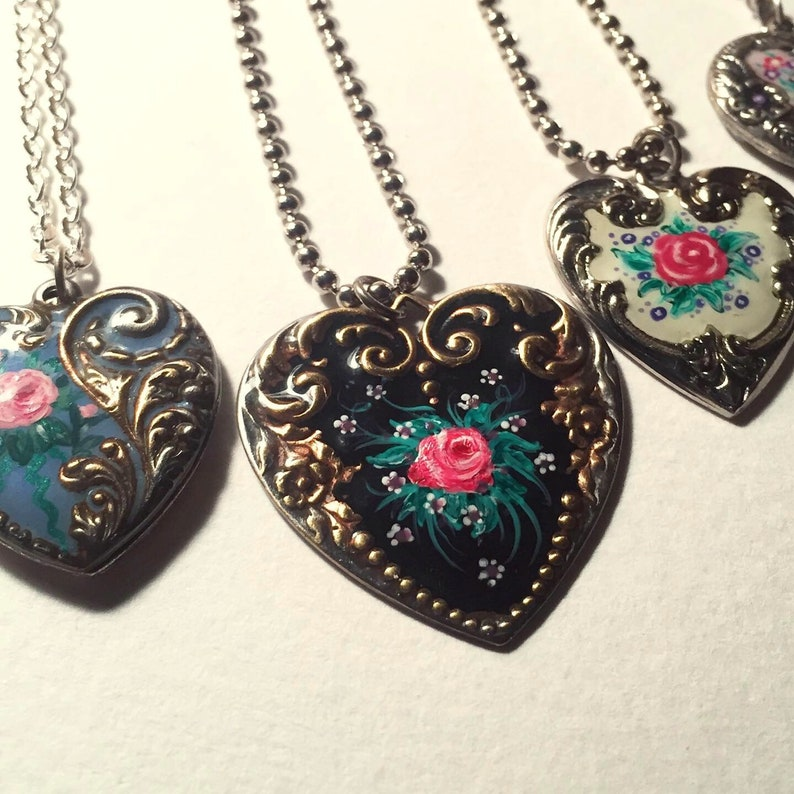 Dishfunctional Designs silver painted heart Victorian shabby chic romantic heart pendant necklace rose Painted enameled heart charm