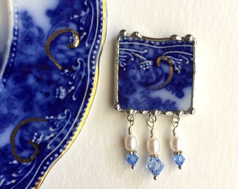 Eco Friendly Pin Brooch, Broken China Jewelry, Lovely Antique Flow Blue china, 100 yr old china, crystals and pearls, Dishfunctional Designs