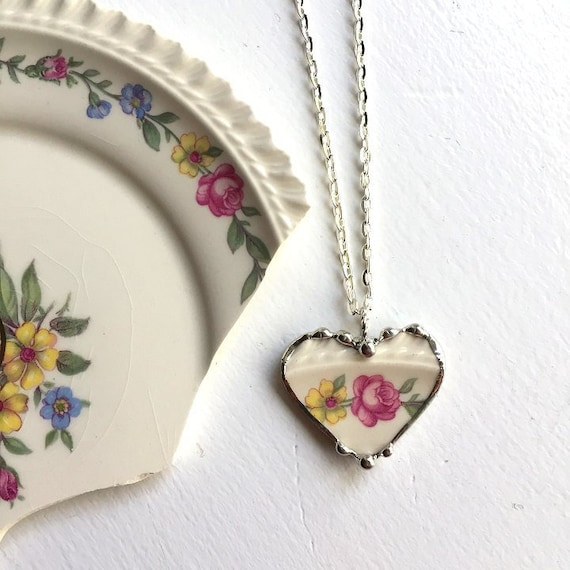 broken china jewelry pink flower necklace Pink roses long pendant necklace long necklace broken china necklace vintage china necklace