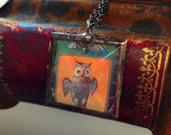 Vintage Halloween postcard pendant necklace owl with bat antique post card image