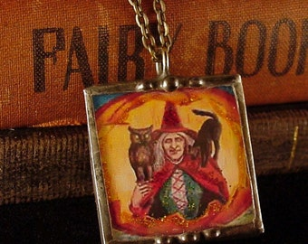 Vintage Halloween Postcard Pendant Necklace witch with owl and black cat, woman and mirror