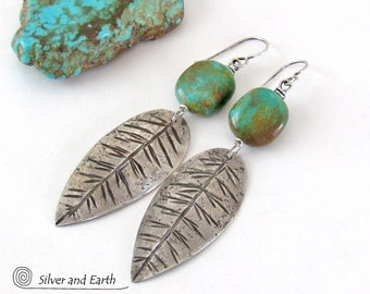 Long Sterling Silver Feather Earrings with Natural Turquoise Stones, Handmade Silversmith Earrings, Bold Earthy Tribal Southwestern Jewelry