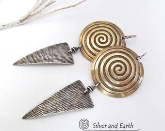 Sterling Silver & Brass Earrings, Contemporary Modern Jewelry, Spiral Earrings, Long Dangle, Handmade Metal Jewelry, Mixed Metal Earrings