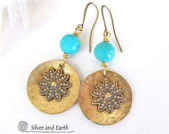 Flower Earrings, Turquoise Earrings, Brass Dangle Earrings, Gold Earrings, Handmade Botanical Jewelry, Nature Gifts for Her, Flower Jewelry