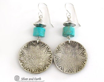 Turquoise & Sterling Silver Earrings, Boho Southwestern Jewelry, Hammered Hand Stamped Sterling Earrings, Sundance / Southwest Style Jewelry