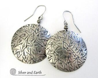 Large Sterling Silver Earrings, Solid Silver Earrings, Big Round Statement Earrings, Modern Sterling Silver Metalsmith Jewelry Handmade