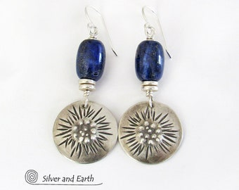 Sterling Silver & Blue Lapis Gemstone Earrings, Bold Unique Modern Handcrafted Sterling Silver Jewelry, Genuine Lapis Lazuli Jewelry