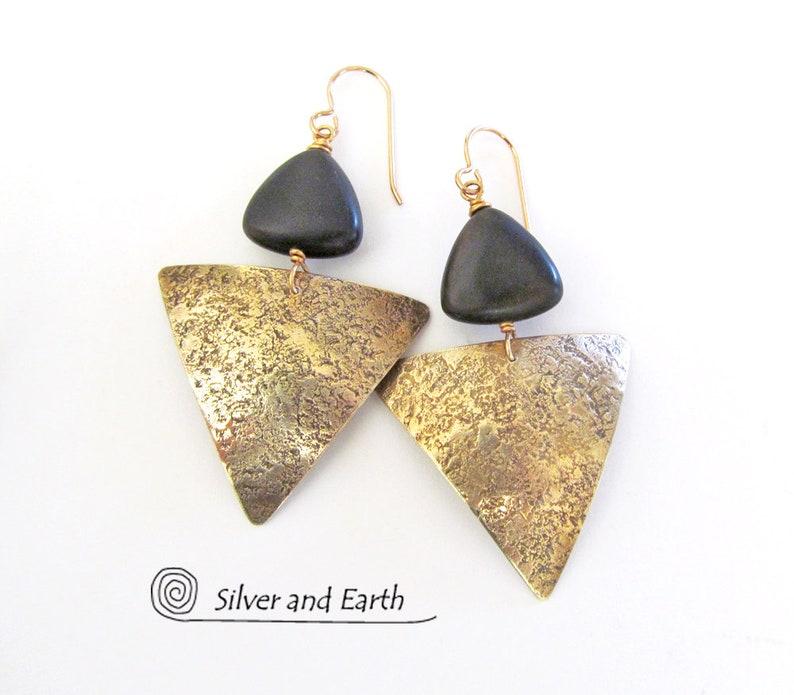 46bf43e564917 Brass Triangle Earrings, Black Onyx Earrings, Chic Contemporary Modern  Geometric Jewelry, Black & Gold Earrings, Handmade Metal Jewelry
