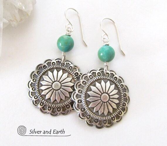 Sterling Silver Concho Earrings Turquoise Southwestern Jewelry Handmade