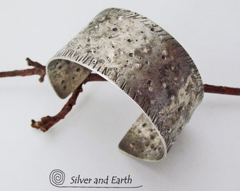 Organic Sterling Silver Cuff, Hand Forged Cuff Bracelet, Sterling Silver Metalwork Jewelry, Earthy Rustic Primitive Old World Silver Jewelry