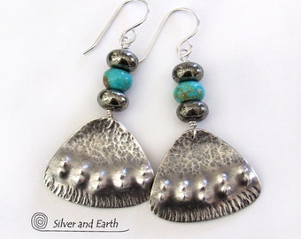 Sterling Silver & Turquoise Earrings with Pyrite Stones, Bold Unique Silversmith Jewelry, Modern Bohemian Tribal Sundance / Southwest Style