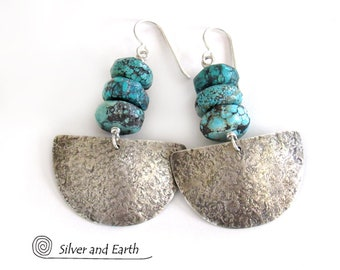 Sterling Silver Half Moon Earrings with Turquoise, Organic Earthy Rustic Jewelry, Natural Turquoise Earrings, Metalsmith Sterling Jewelry