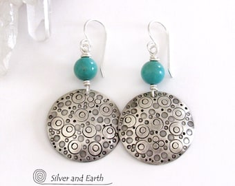 Sterling Silver & Turquoise Earrings, Modern Boho Sundance / Southwest Style, Hand Stamped Silver, Handmade Silver and Turquoise Jewelry