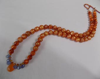 FACETED PEARL and GEMSTONE Necklace
