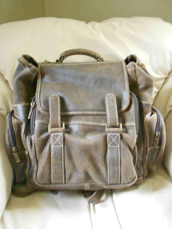 HUGH Leather Rucksack Backpack  / Brown Leather Ba