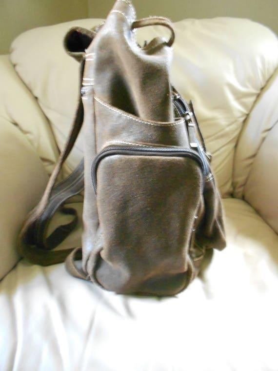 HUGH Leather Rucksack Backpack  / Brown Leather B… - image 4
