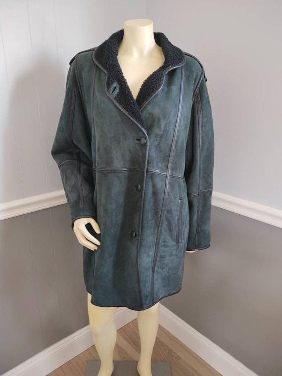 Green Suede Coat  / Size Medium