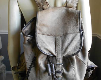 HUGH Leather Cowhide Rucksack Backpack  / Brown Leather Backpack SALE