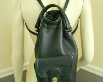 Coach Black Leather Backpack  / Coach Knapsack Bag