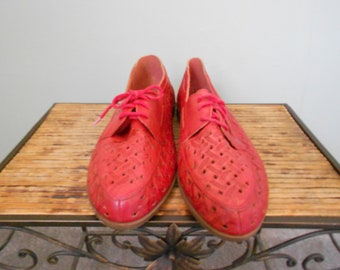 Red Leather Woven Flats, Size 8 1/2 D