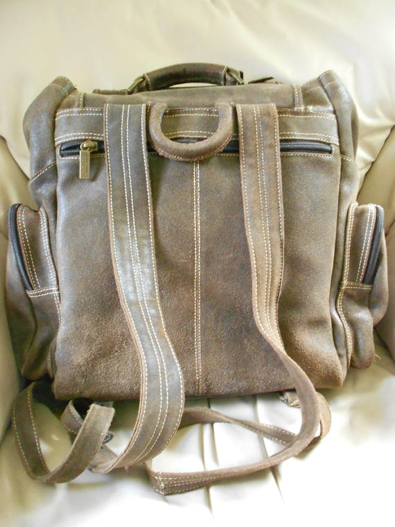 HUGH Leather Rucksack Backpack  / Brown Leather B… - image 3