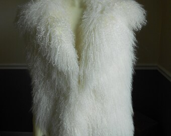 Fur Vest / Mongolian Lamb Fur Vest / Genuine Fur