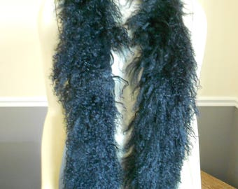 Fur Scarf / Lamb Collar / Tibetan Mongolian Lamb / 1980s / Black Curly lamb