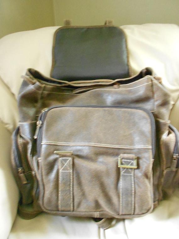 HUGH Leather Rucksack Backpack  / Brown Leather B… - image 2