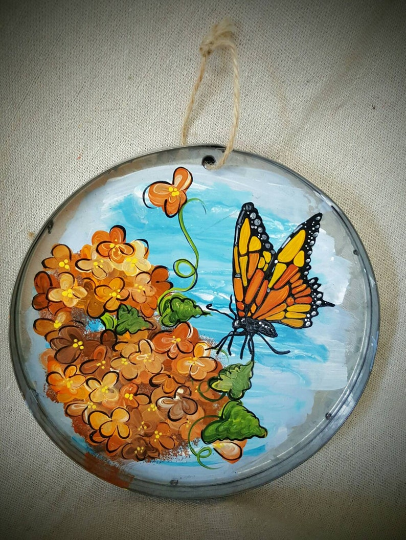 Tin sign hand painted Butterfly and Hydrangea flowers