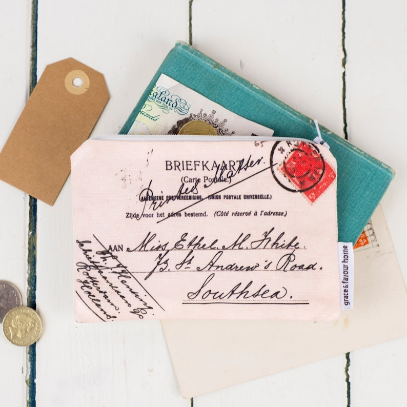 blue red and green featuring hand writing for coins orange Postcard Purse Vintage travel stamp make up bag