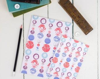 Buttons Notebook Set, A5 and A6 multipack, plain recycled paper