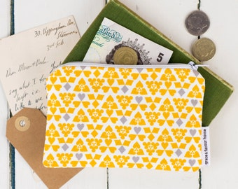 Suits Purse, mustard and grey pattern make up bag, zip fasten pouch