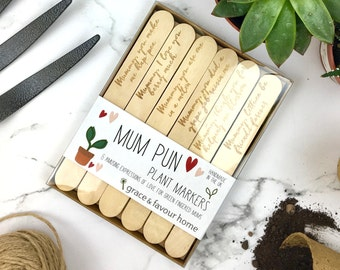 Mum Plant Markers, Fun phrases, gardening puns, wooden engraved, present for mum, Add pack of organic seeds for a great gift