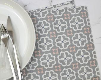 Geometric Tea Towel, Ines design, grey, pink and white kitchen, striking pattern, made in UK, Free UK postage, gilda range