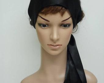 Black satin hair scarf 95a81a7a84e