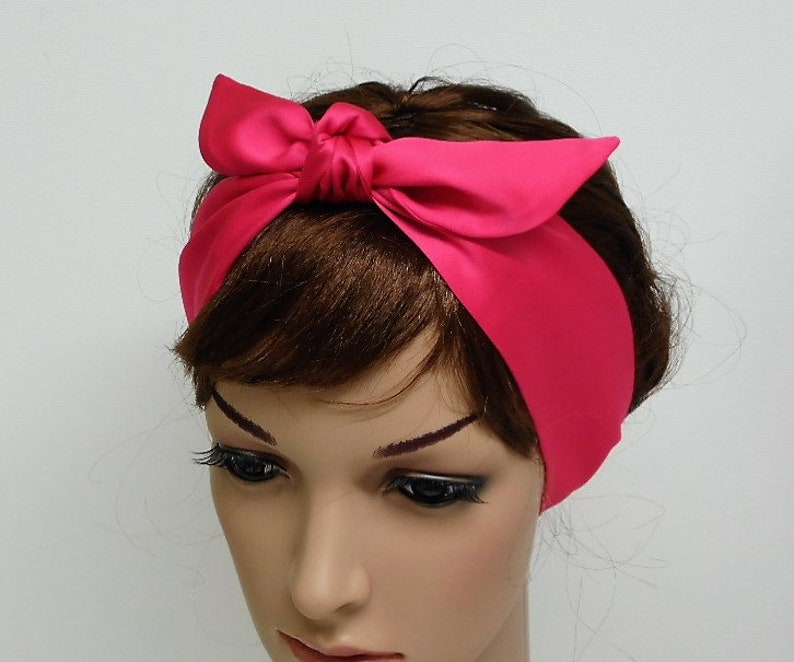 HEAD SCARF HAIR BAND LIGHT BABY PINK JERSEY STRETCH NECK TIE BOW  ROCKABILLY