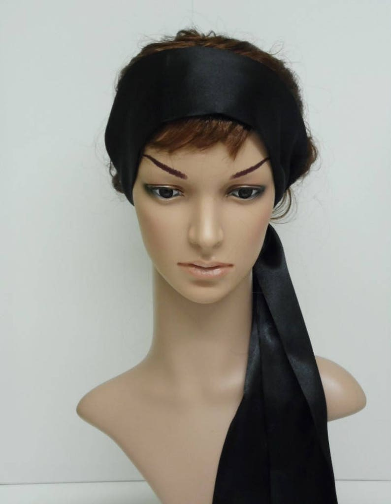 Black satin hair scarf headband head wrap hair wrap black  b6ec0e09df9