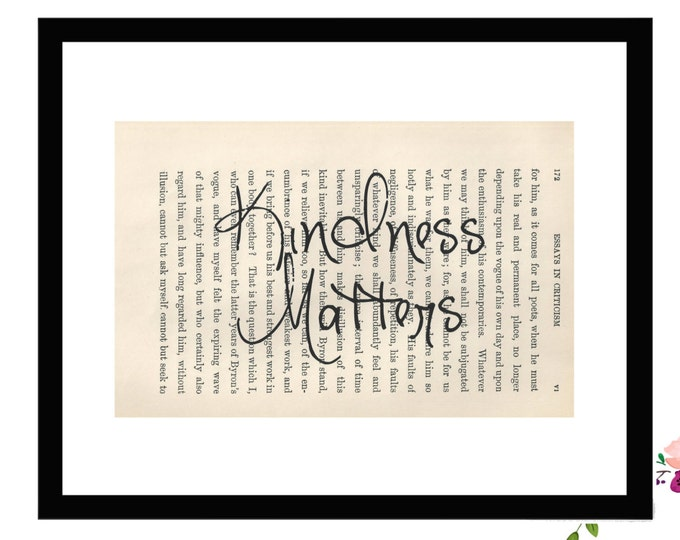 Kindness Matters Inspirational Upcycled Vintage Book Page Art Box Frame or Print Farmhouse Style