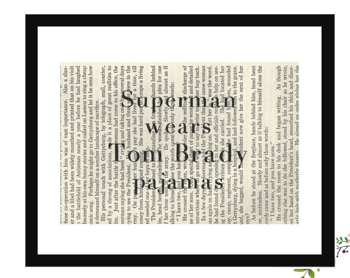 Superman Wears Tom Brady Pajamas New England Patriots Football Vintage Book Page Art Box Frame or Print Farmhouse Style